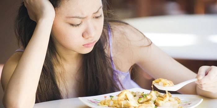 Девушка с тарелкой еды