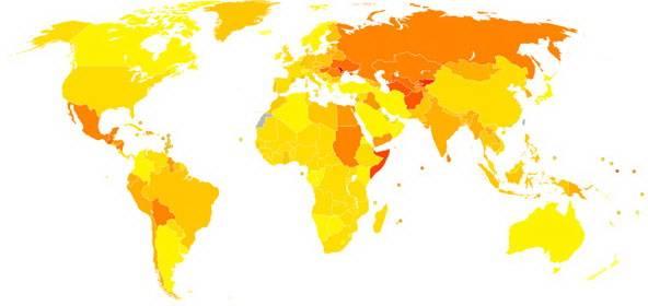 Статистика цирроза печени - распространение в мире