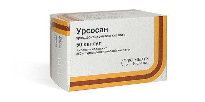 Таблетки Урсосана в упаковке