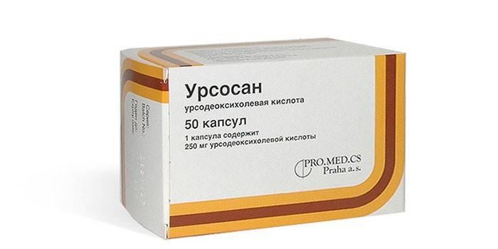 Таблетки Урсосан в упаковке