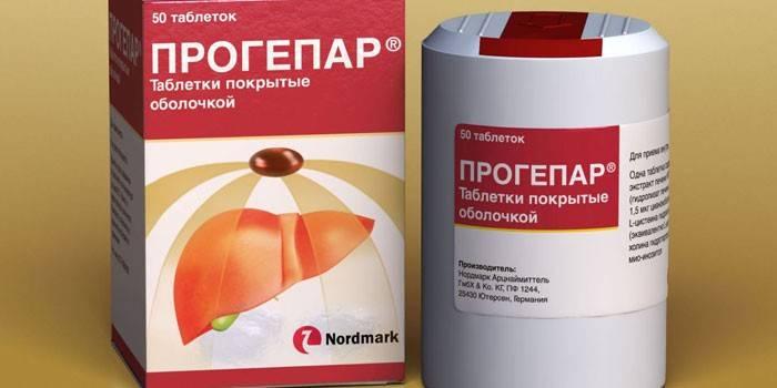 Таблетки Прогепар в упаковке